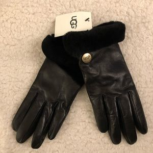 UGG Australia Womens Leather Shearling Fur Gloves